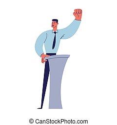ワイシャツ, ショー, 漫画, 彼の, の後ろ, くいしばられる, イラスト, 手, タイ, 若い, 力, マレ, 信頼, 隔離された, ジェスチャー, 特徴, ベクトル, 上げられた, fist., podium., 人, 白