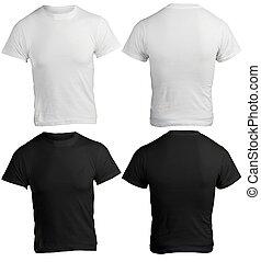 ワイシャツ, 人, 黒, テンプレート, ブランク, 白