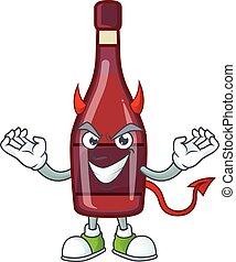 ワイン, デザイン, 漫画, びん, 特徴, 悪魔, 赤