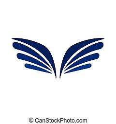 ワシ, スタイル, 単純である, アイコン, 対, 翼