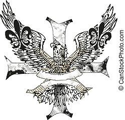 ワシ, 紋章, de, 交差点, fleur, lis