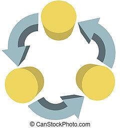 ワークフロー, スペース, 矢, コミュニケーション, リサイクルしなさい, コピー