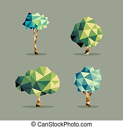 三角形, 抽象的, セット, 木