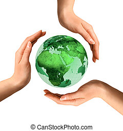 上に, 地球, リサイクル, 概念, 地球, シンボル