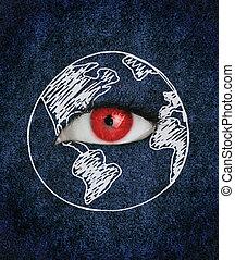 上に, 地球, 囲まれた, 青, 図画, 目, 赤, 手ざわり