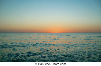 上に, 夕方, 日没, 海