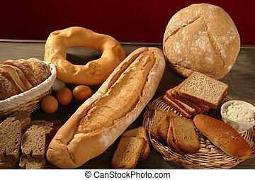上に, 暗い, 生きている, 木, 背景, まだ, bread