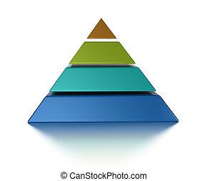 上に, 隔離された, pyramic, 薄く切られる, レベル, 4, 背景, 白