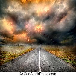 上に, 雲, ハイウェー, 嵐, 稲光