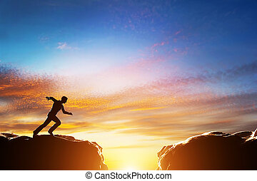 上に, 2, 速い, 絶壁, ジャンプ, 動くこと, ∥間に∥, 山。, 挑戦, 人