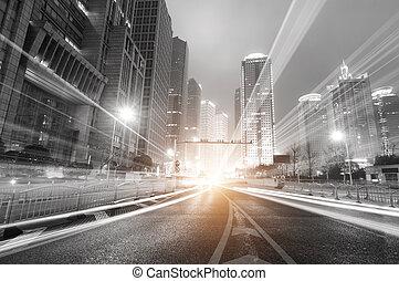 上海, 夜, 金融, 現代, 背景, 地域, 都市, 取引しなさい, lujiazui, &