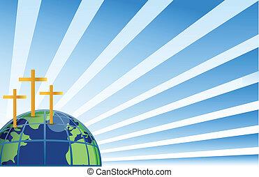 上, 神聖, 地球, 十字