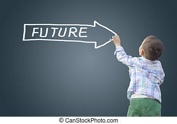 下方に, 男の子, 未来, 執筆