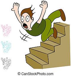 下方に, 階段, 落ちる, 飛行, 人