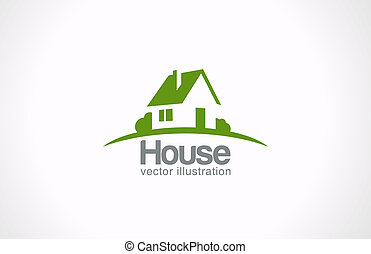 不動産, 家, 抽象的, countryside., 不動産, ロゴ, icon.