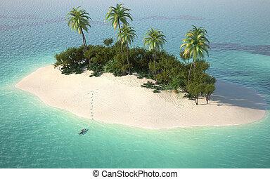不毛のアイランド, 光景, 航空写真, caribbeanl