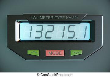 世帯, ワット, メートル, エネルギー, 電気, consumption., デジタル, 提示, kwh, 力