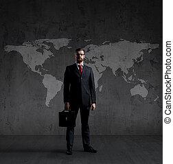 世界地図, ビジネスマン, concept., briefcase., globalization, 地位, ビジネス, バックグラウンド。