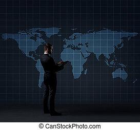 世界地図, ビジネスマン, concept., tablet., コンピュータ, globalization, 地位, ビジネス, バックグラウンド。