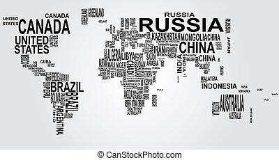 世界地図, 名前, 国
