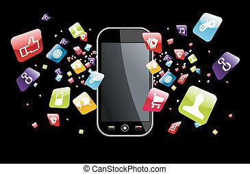 世界的である, smartphone, はね返し, apps, アイコン