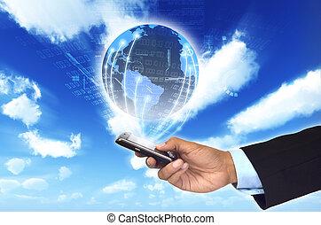 世界的に, 情報, 概念, 電話, いかに, netwrok., 缶, ビジネスマン, 痛みなさい, 連結しなさい