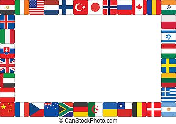 世界, フレーム, 作られた, 旗, アイコン