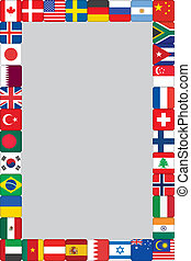 世界, フレーム, 旗, アイコン