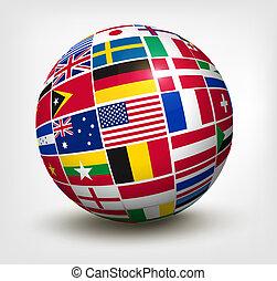 世界, ベクトル, 旗, globe., illustration.