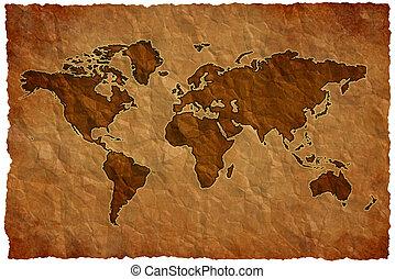 世界, ペーパー, しわにしなさい, 地図