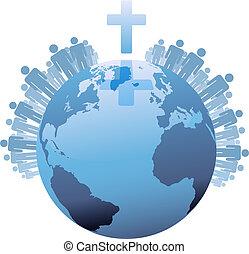 世界, 下に, populations, 地球, 交差点, 世界的である, キリスト教徒