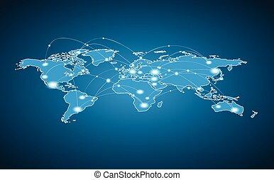 世界, 接続, 世界的である, -, 地図