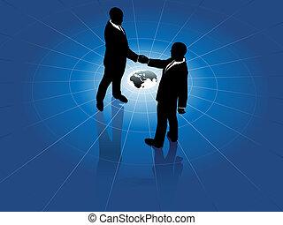 世界, 男性, 握手, ビジネス, 世界的である, 合意