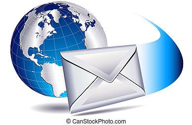 世界, 郵便物, 電子メール
