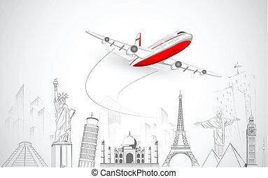 世界, 飛行機, 飛行, の上