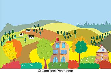 丘, 田舎, 木, 家, 秋, 牛, 風景