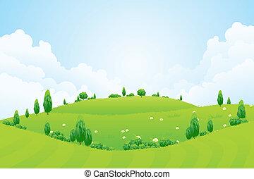 丘, 花, 背景, 草, 木, 緑