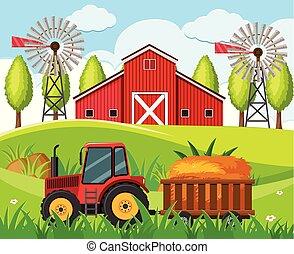丘, 農場, 現場, 赤いトラクター, 納屋