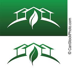 両方とも, 概念アイコン, 固体, 家, 反転された, 緑