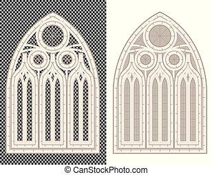 中世, バックグラウンド。, 窓, gothic, 白, 透明