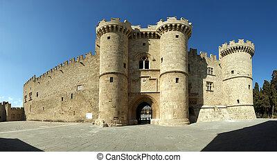 中世, (palace), rhodes, パノラマである, ギリシャ, 光景, 騎士, 城