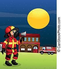 中央, 夜, 消防士