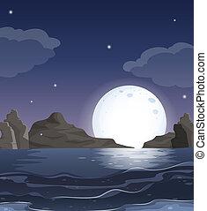 中央, 海洋眺め, 夜