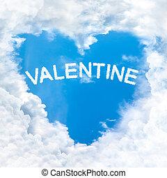 中心の 形, 単語, 雲, バレンタイン