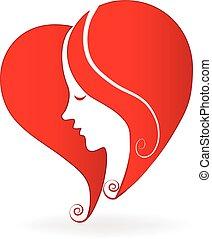 中心の 形, 女, 愛, ロゴ