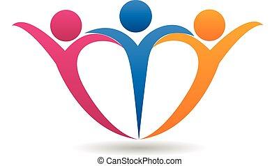 中心の 形, 幸せな家族, ロゴ