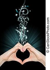 中心の 形, 手, 愛, マジック