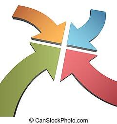中心, ポイント, 色, カーブ, 矢, 一点に集まりなさい, 4, 3d