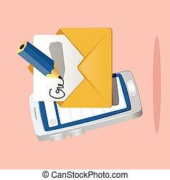 中, 電子メール, penciil, ペーパー, 痛みなさい, アイコン, 電話。, 半分, 封筒, 前部, 作成しなさい, イラスト, 執筆, ベクトル