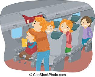 中, stickman, 飛行機, 家族